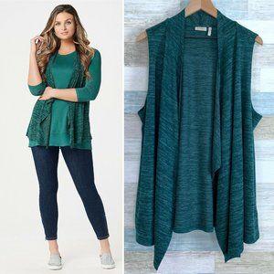LOGO Lori Goldstein Sweater Knit Vest Green